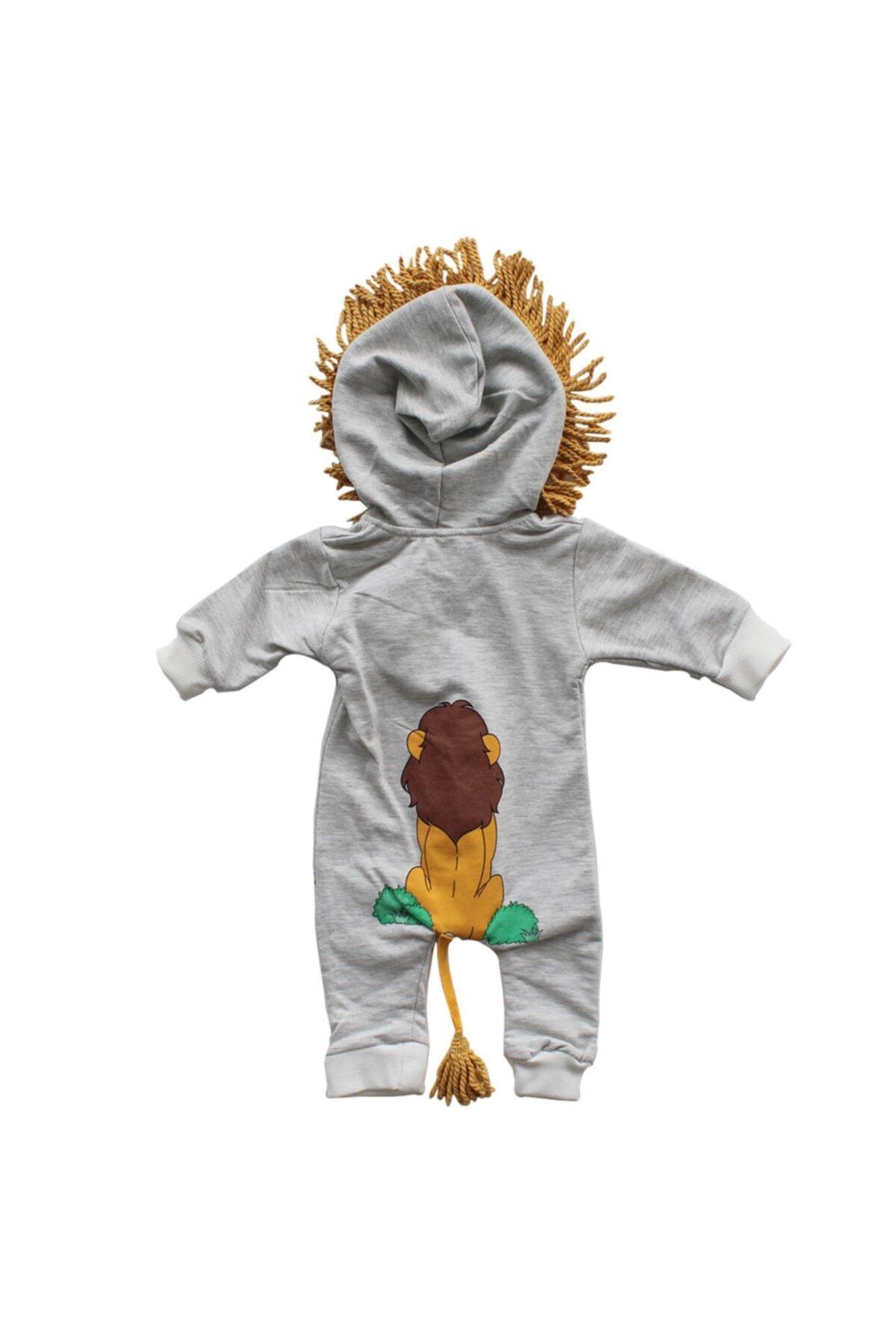 bebegen Unisex Bebek Gri Aslan Baskılı Püsküllü Tulum 2