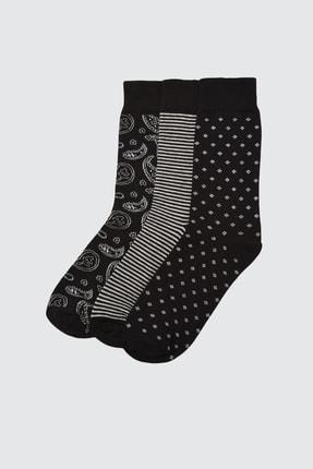 TRENDYOL MAN Siyah Erkek 3'lü Soket Çorap TMNAW21CO0061