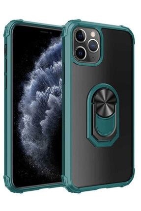 Apple Iphone 11 Pro Max Kılıf Yüzüklü Standlı Zırh Silikon Şeffaf