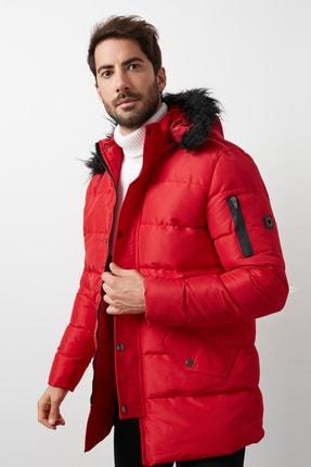 Buratti Erkek Kırmızı Slim Fit Kapüşonlu Cepli Şişme Mont