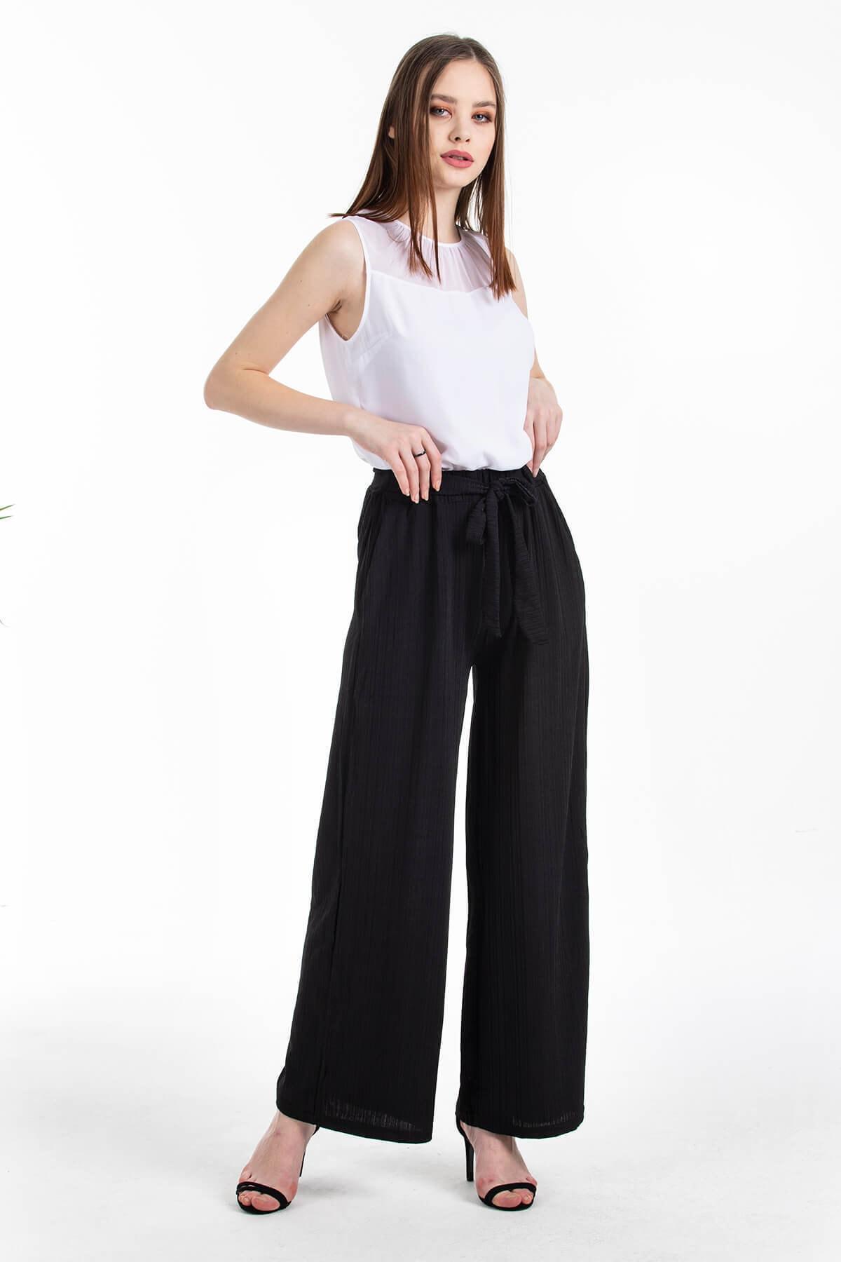 Mossta Kadın Siyah Likralı Kaşkorse Salaş Pantolon 1