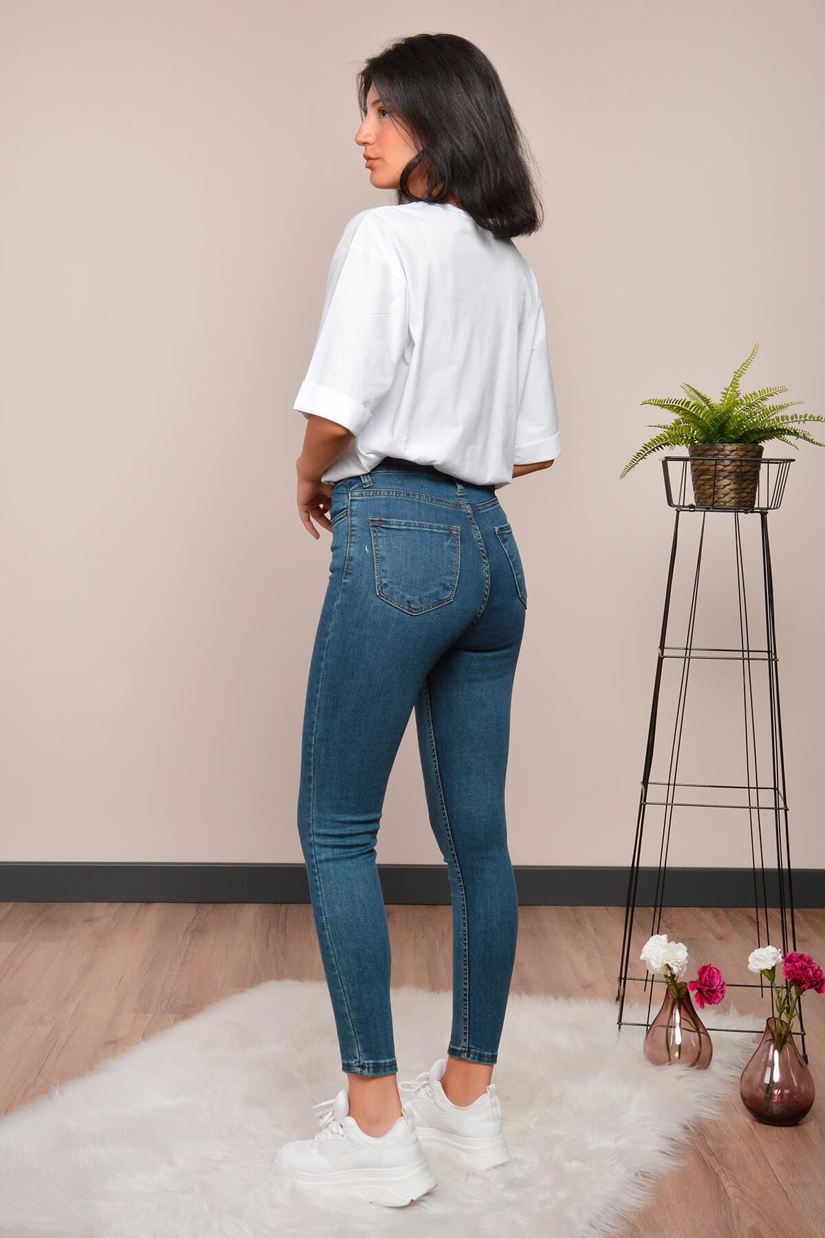 Mossta Kadın Mavi Yüksek Bel Likralı Jean 2