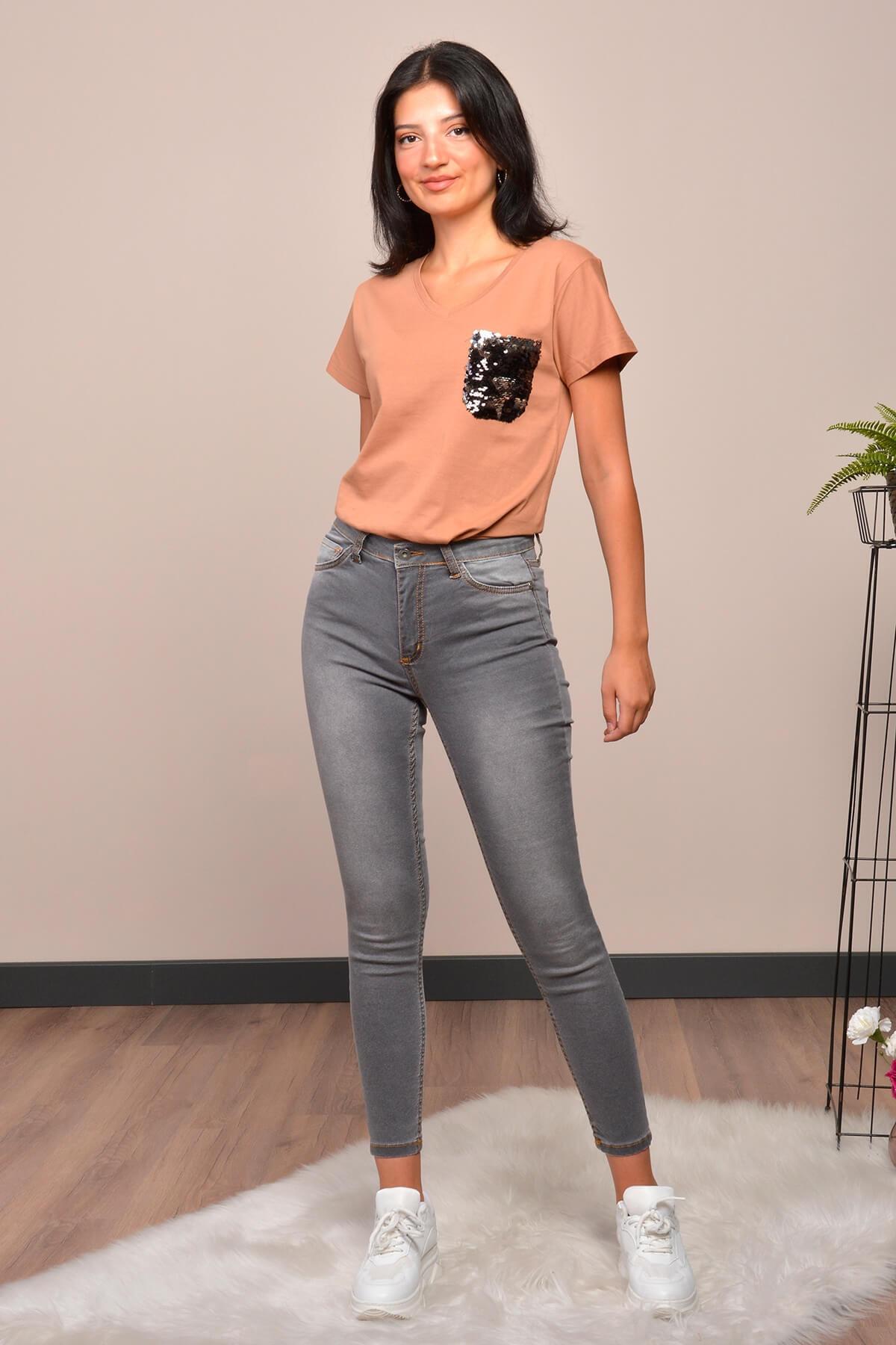 Mossta Kadın Gri Yüksek Bel Likralı Pantolon 1