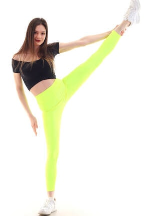 Mossta Kadın Neon Sarı Geniş Kemer Parlak Tayt