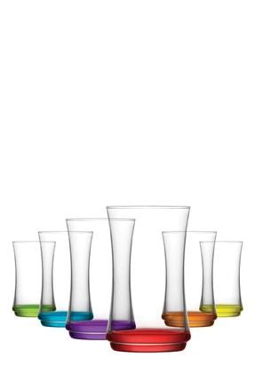 LAV Lal 6 Parça Renkli Taban Meşrubat Bardağı