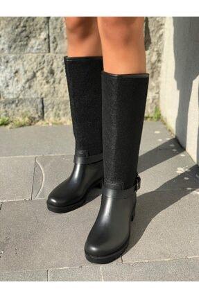 wolk shoes Kadın Siyah Kaşe Yagmur Cizmesi