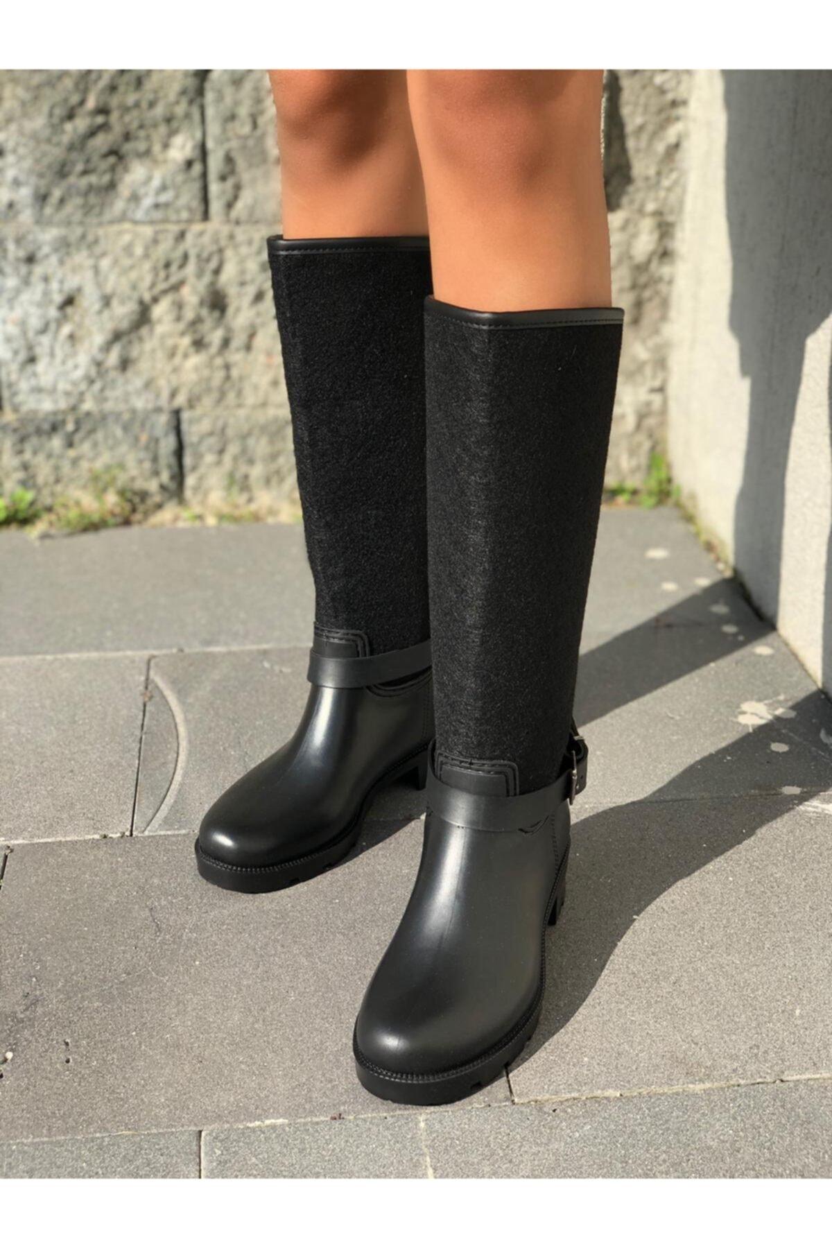 wolk shoes Kadın Siyah Kaşe Yagmur Cizmesi 1