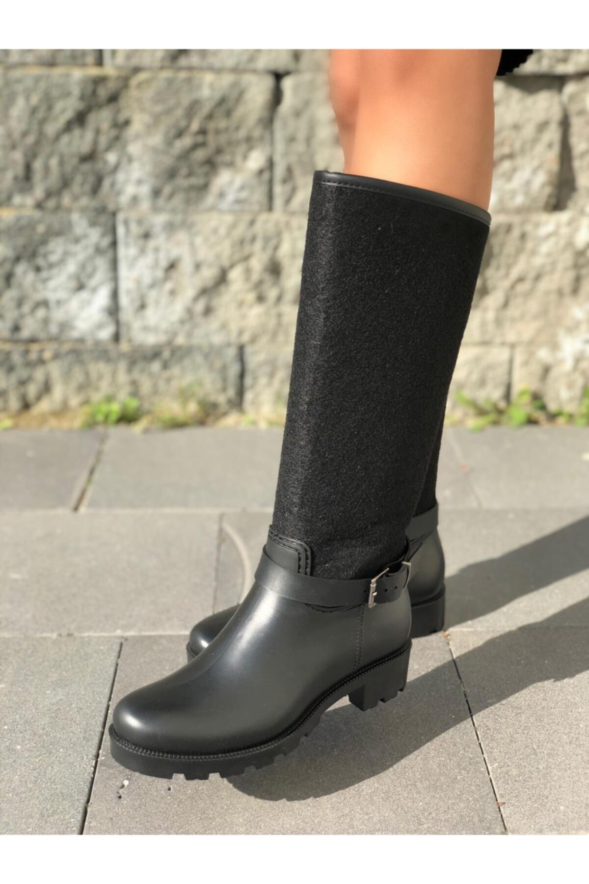 wolk shoes Kadın Siyah Kaşe Yagmur Cizmesi 2