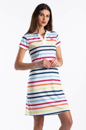 Mossta Kadın Beyaz Çizgili Yazlık Elbise