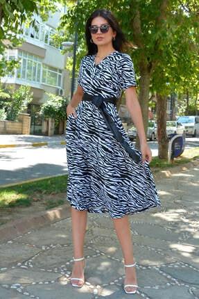 Mossta Kadın Beyaz Zebra Desen Kruvaze Yaka Elbise