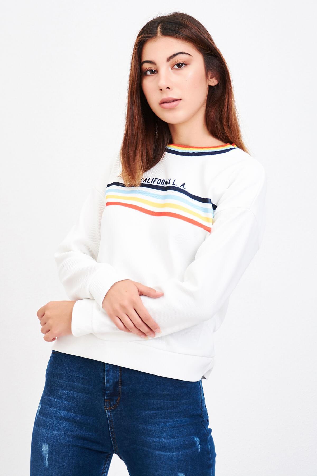 Mossta Kadın Beyaz California Sweatshirt 1