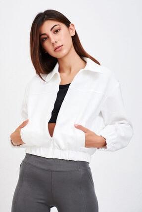 Mossta Kadın Beyaz Bomber Ceket