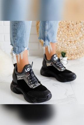 Limoya Damaris Siyah Platin Streç Gizli Topuklu Sneakers