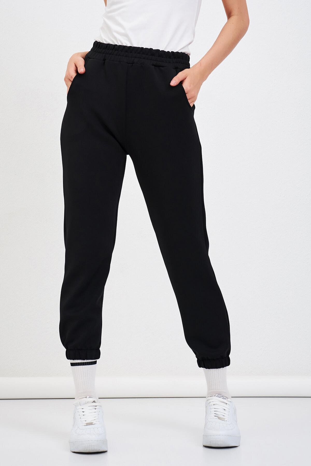 Mossta Kadın Siyah Scuba Paça Lastikli Pantolon 1