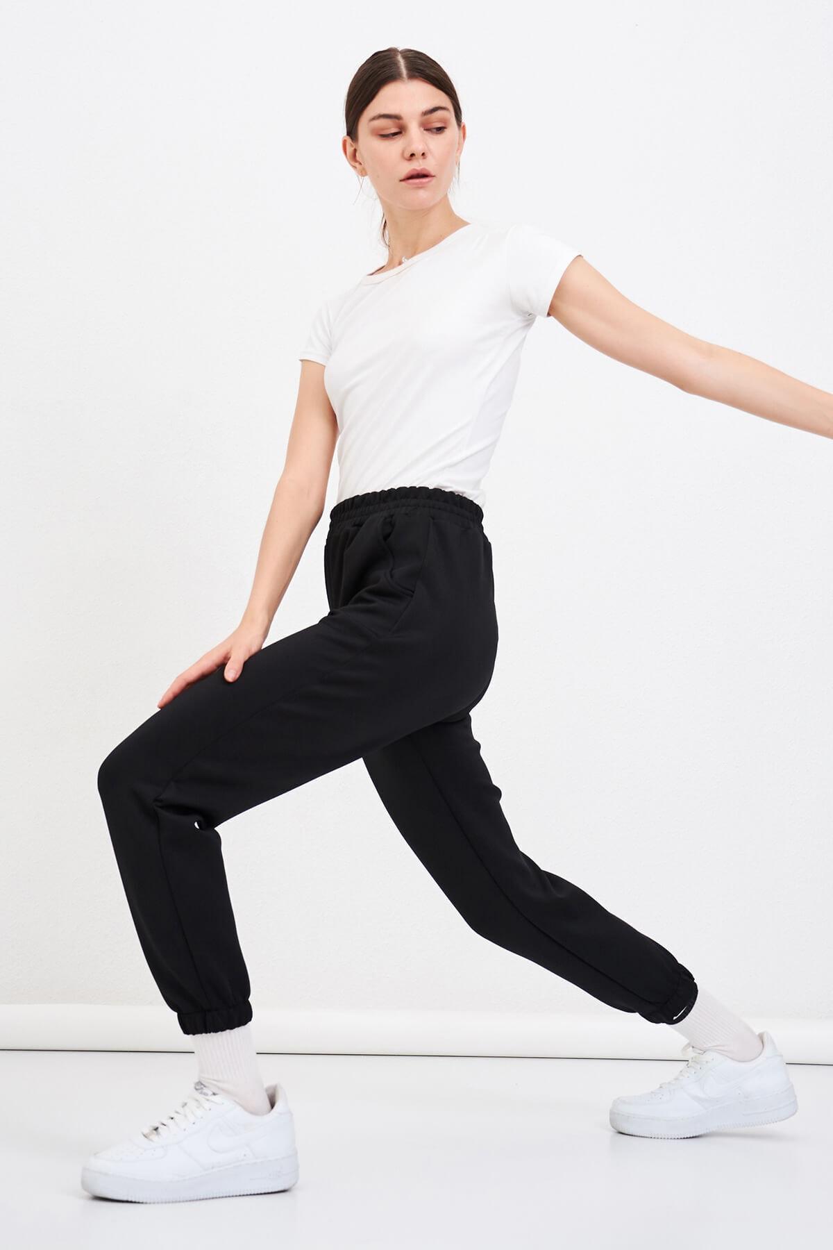 Mossta Kadın Siyah Scuba Paça Lastikli Pantolon 2