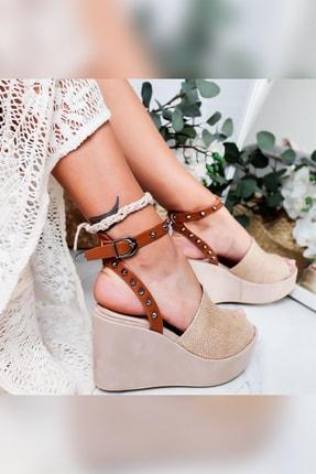 Limoya Heaven Taba Hasır Zımba Detaylı Dolgu Topuklu Sandalet