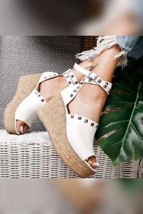 Limoya Phoebe Beyaz Zımbalı Dolgu Topuklu Ayakkabı