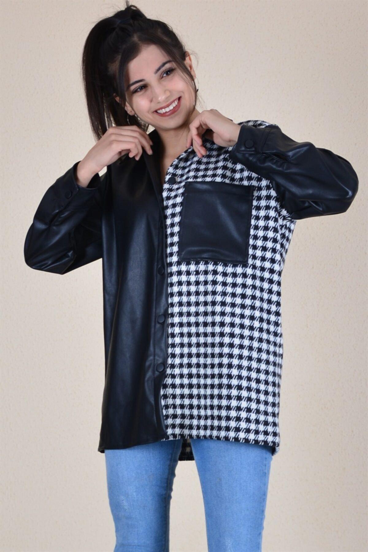butikburuç Kadın Siyah Yarı Deri Oduncu Gömlek 2