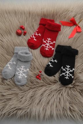 Mudiso Çocuk 3lü Kar Tanesi Desenli Termal Çorap