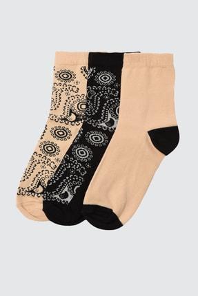 TRENDYOLMİLLA Vizon Baskılı 3'lü Paket Örme Çorap TWOAW21CO0136