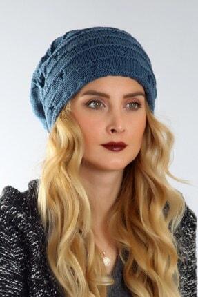 Mossta Kadın Mavi Yırtık Model Bere