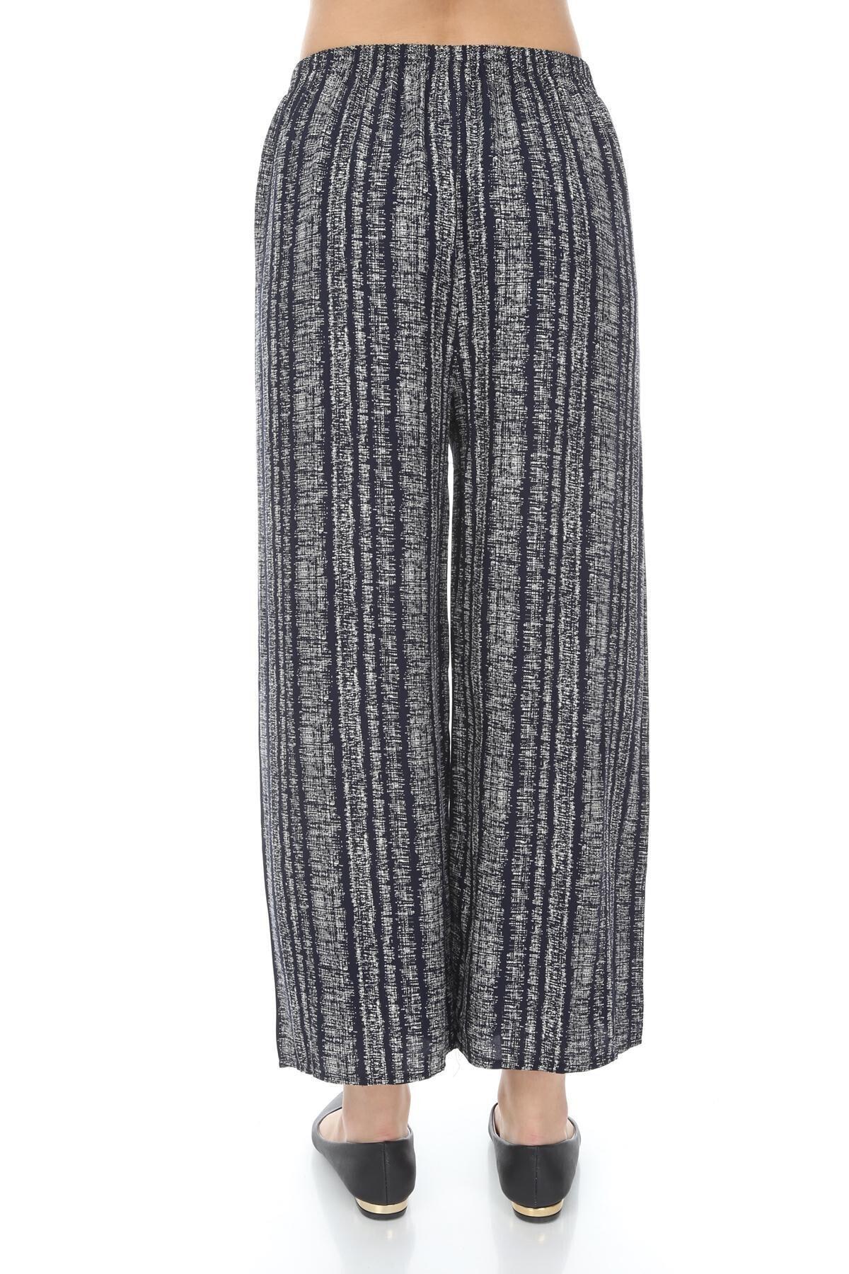 sarıbalon Kadın Lacivert Beli Lastikli Pamuklu Salaş Kalıp Zemin Pantolon 2