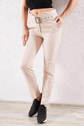 Zafoni Kadın Bej Kemerli Klasik Pantolon