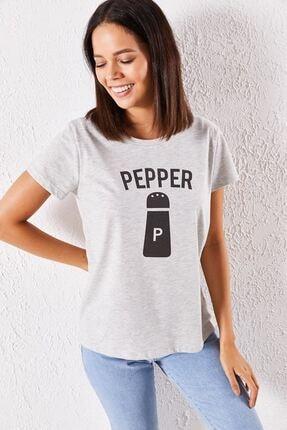Zafoni Kadın Gri Pepper Baskılı T-shirt
