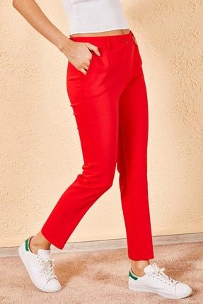 Zafoni Kadın Kırmızı Kalem Pantolon