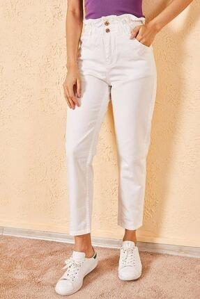 Zafoni Kadın Beyaz Bel Lastikli Kot Pantolon