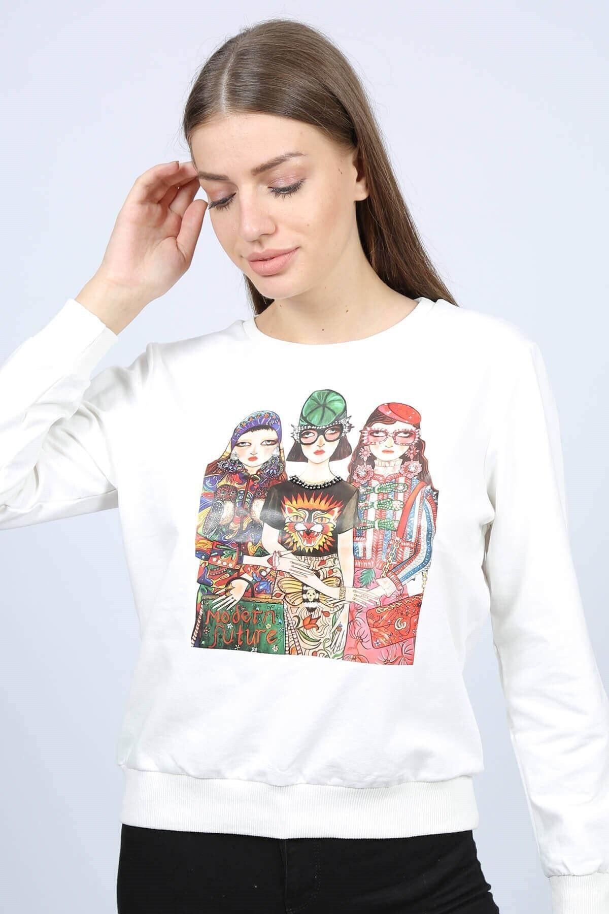 Mossta Kadın Ekru Baskılı Kadın Sweatshirt 1
