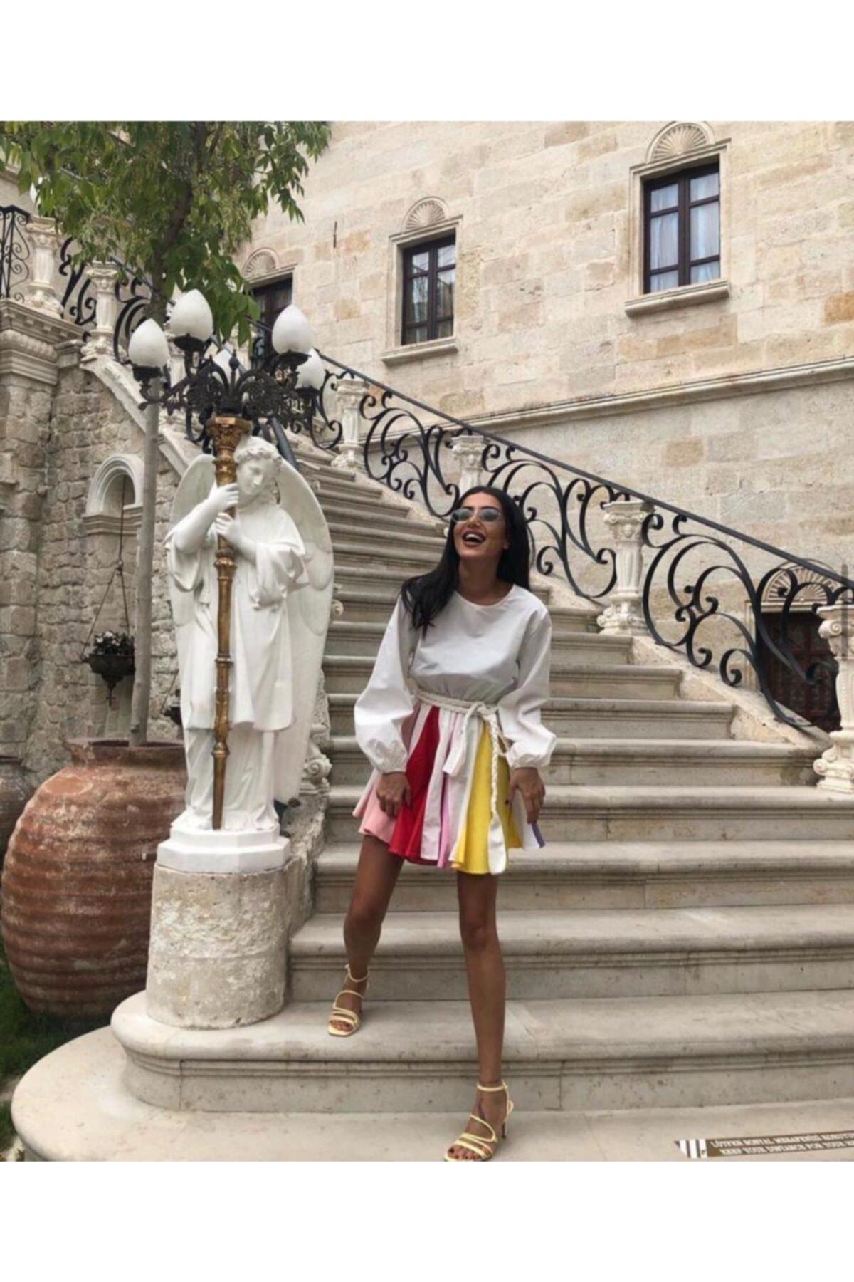 BercesteBoutıque Kadın Beyaz Renkli Lambada Elbise 2