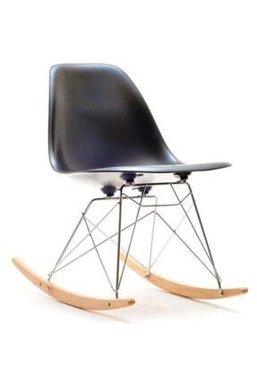 SandalyeSepeti Siyah Eames Kolsuz Sallanan Sandalye