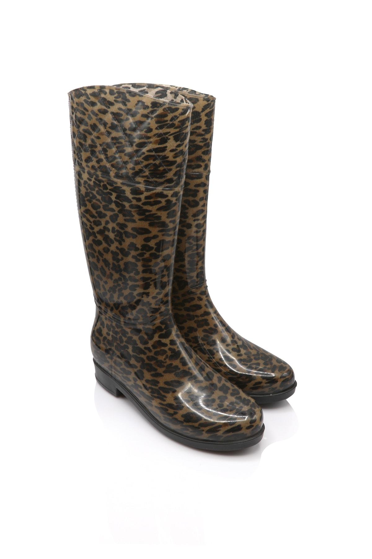 Twigy Tw Kolombiya 20 Leopar Kadın Yağmur Çizmesi 1