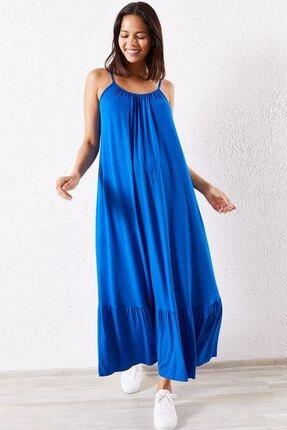 Zafoni Kadın Mavi İp Askılı Günlük Elbise