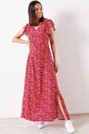 Zafoni Kadın Kırmızı Çiçekli Kol Fırfırlı Elbise