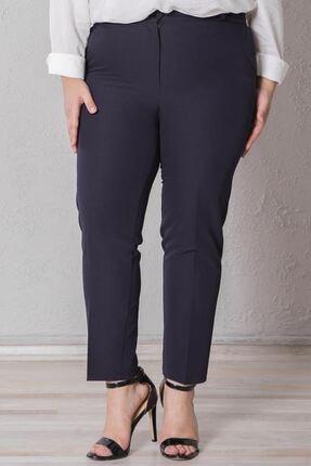 Zafoni Kadın Lacivert Battal Kalem Pantolon