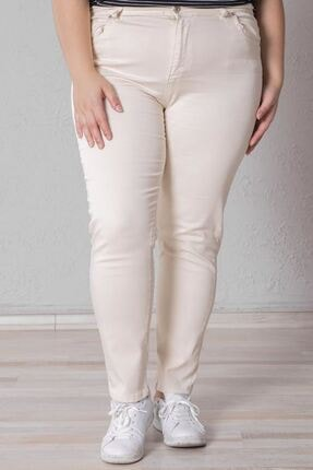 Zafoni Kadın Bej Battal Likralı Kot Pantolon