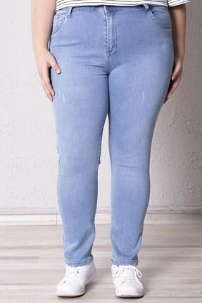 Zafoni Kadın Açık Mavi Battal Likralı Kot Pantolon