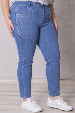 Zafoni Kadın Mavi Battal Taşlı Enzim Yıkamalı Kot Pantolon