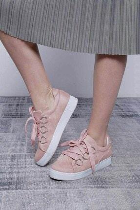 Mossta Kadın Pembe Kalın Bağcıklı Süet Spor Ayakkabı