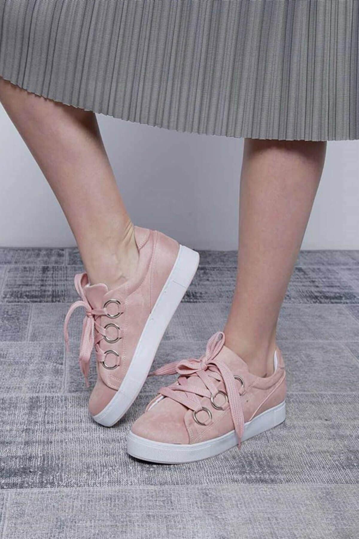 Mossta Kadın Pembe Kalın Bağcıklı Süet Spor Ayakkabı 1