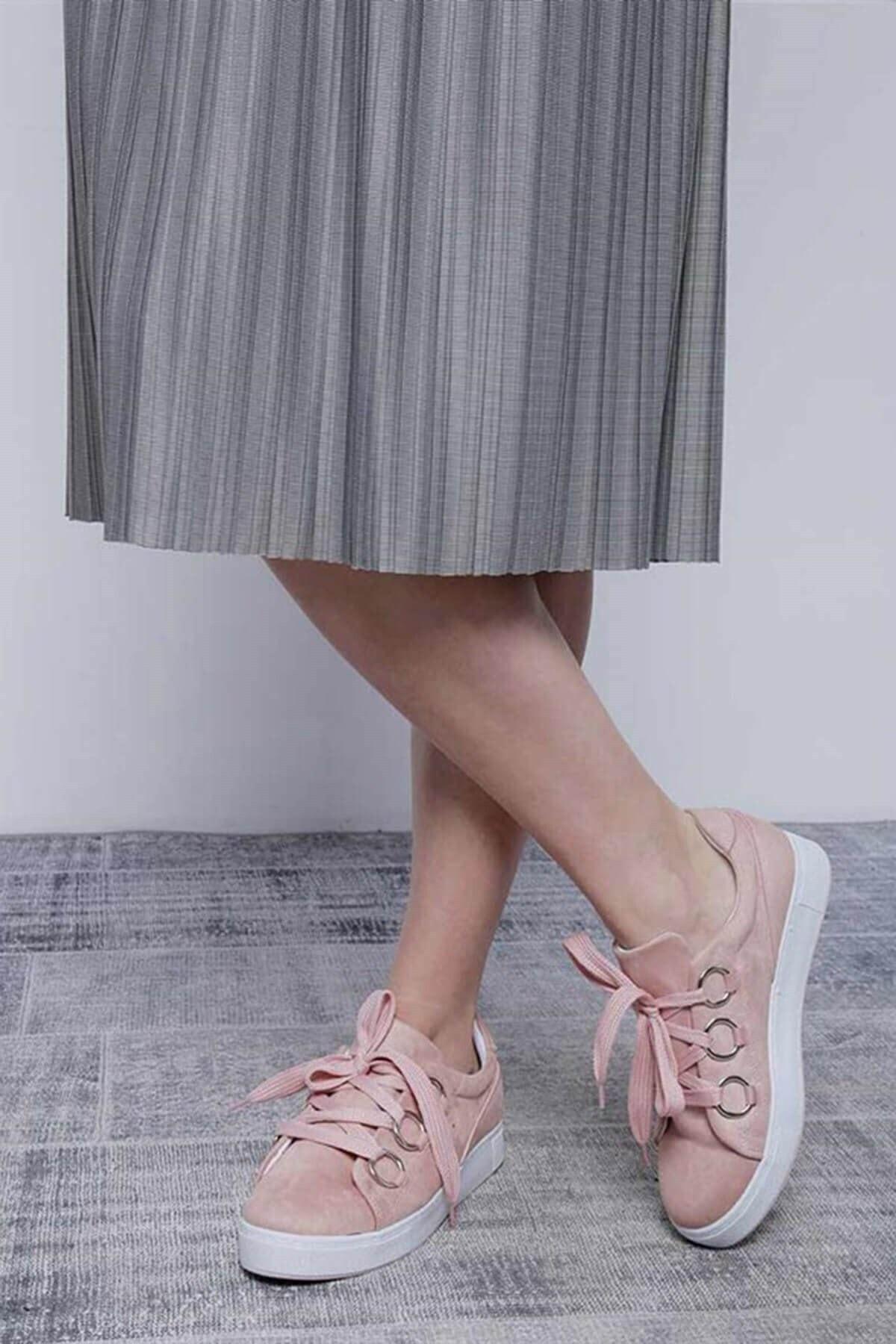 Mossta Kadın Pembe Kalın Bağcıklı Süet Spor Ayakkabı 2