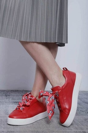 Mossta Kadın Kırmızı Bağcık Desenli Spor Ayakkabı