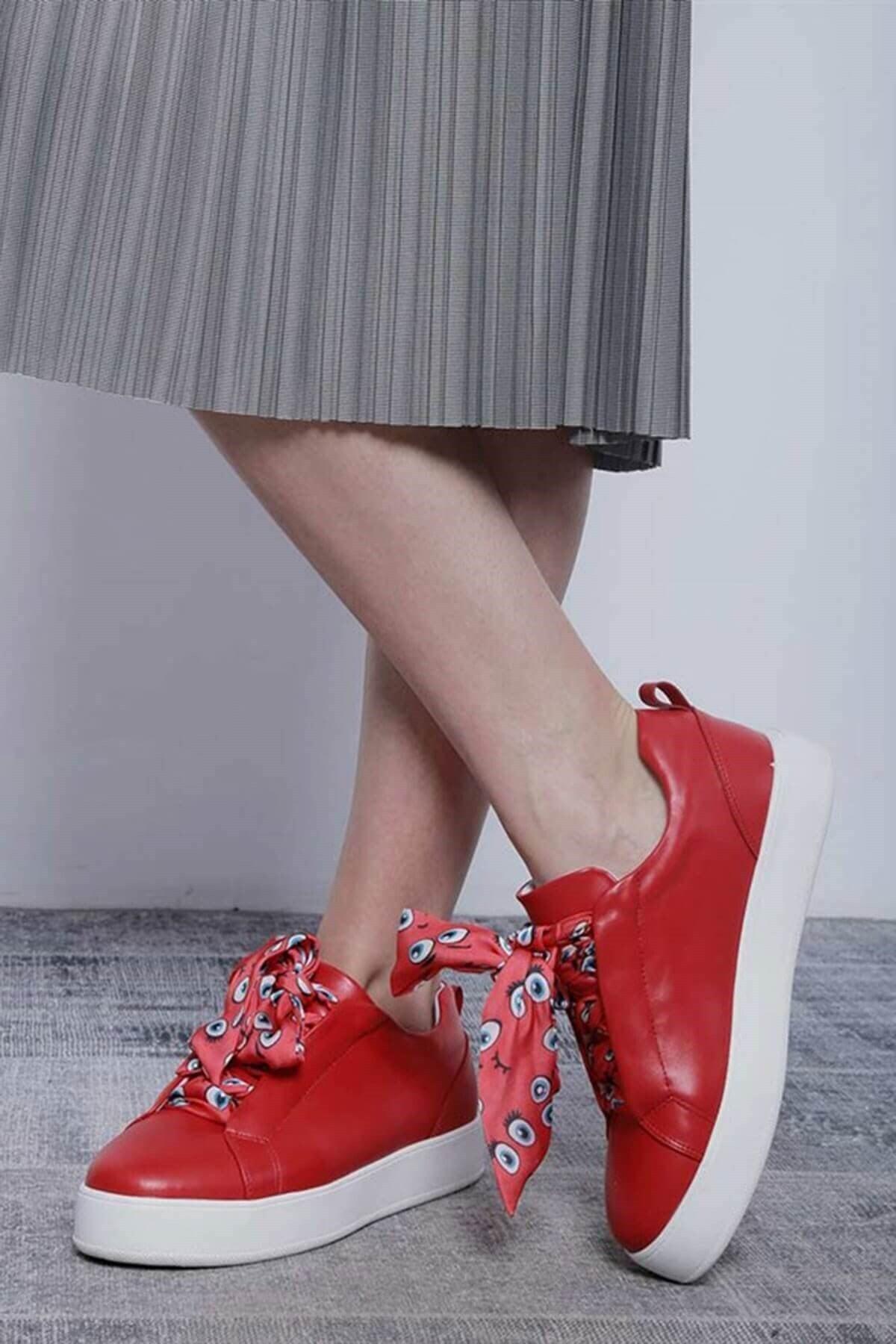Mossta Kadın Kırmızı Bağcık Desenli Spor Ayakkabı 1