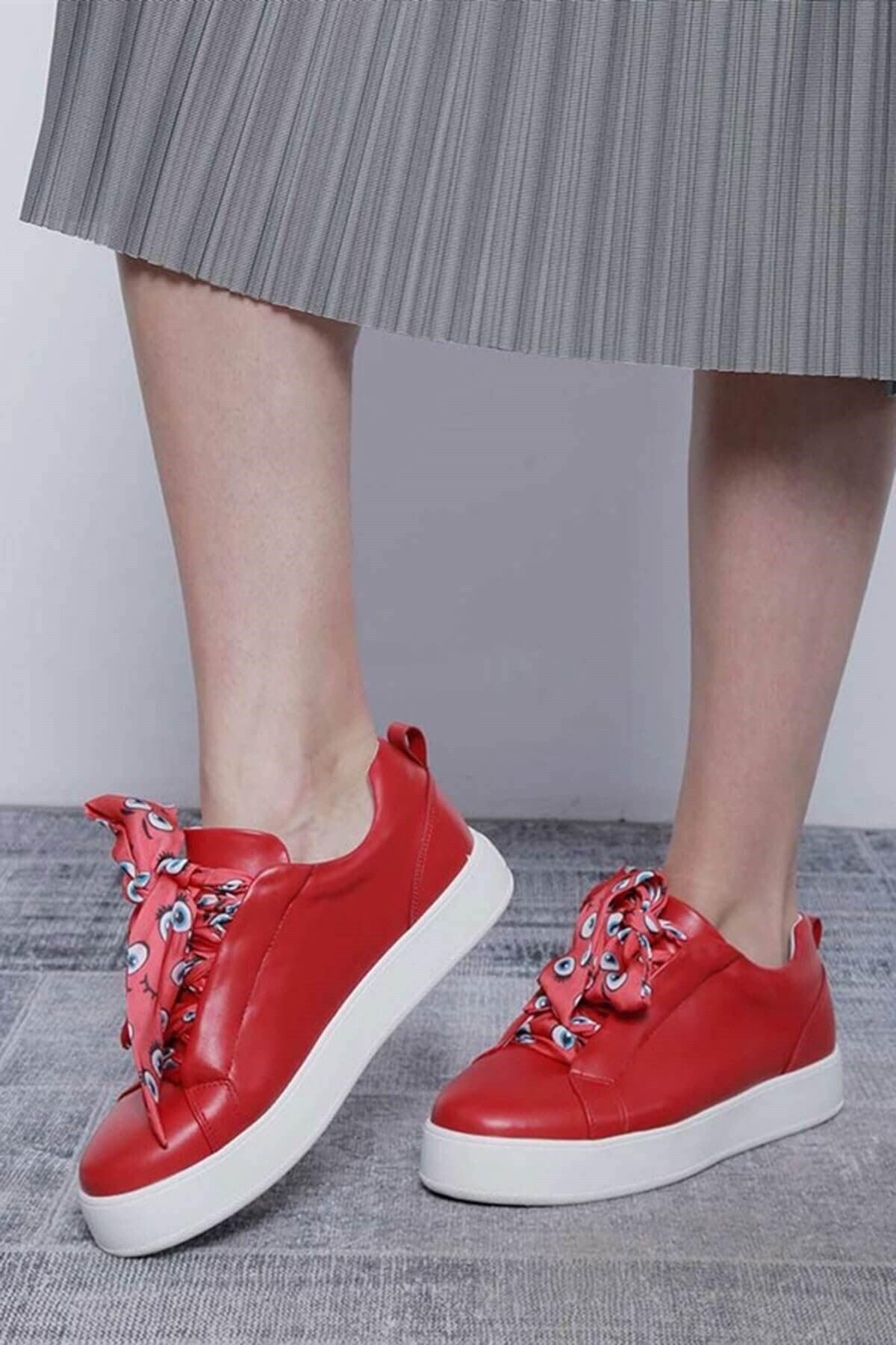 Mossta Kadın Kırmızı Bağcık Desenli Spor Ayakkabı 2