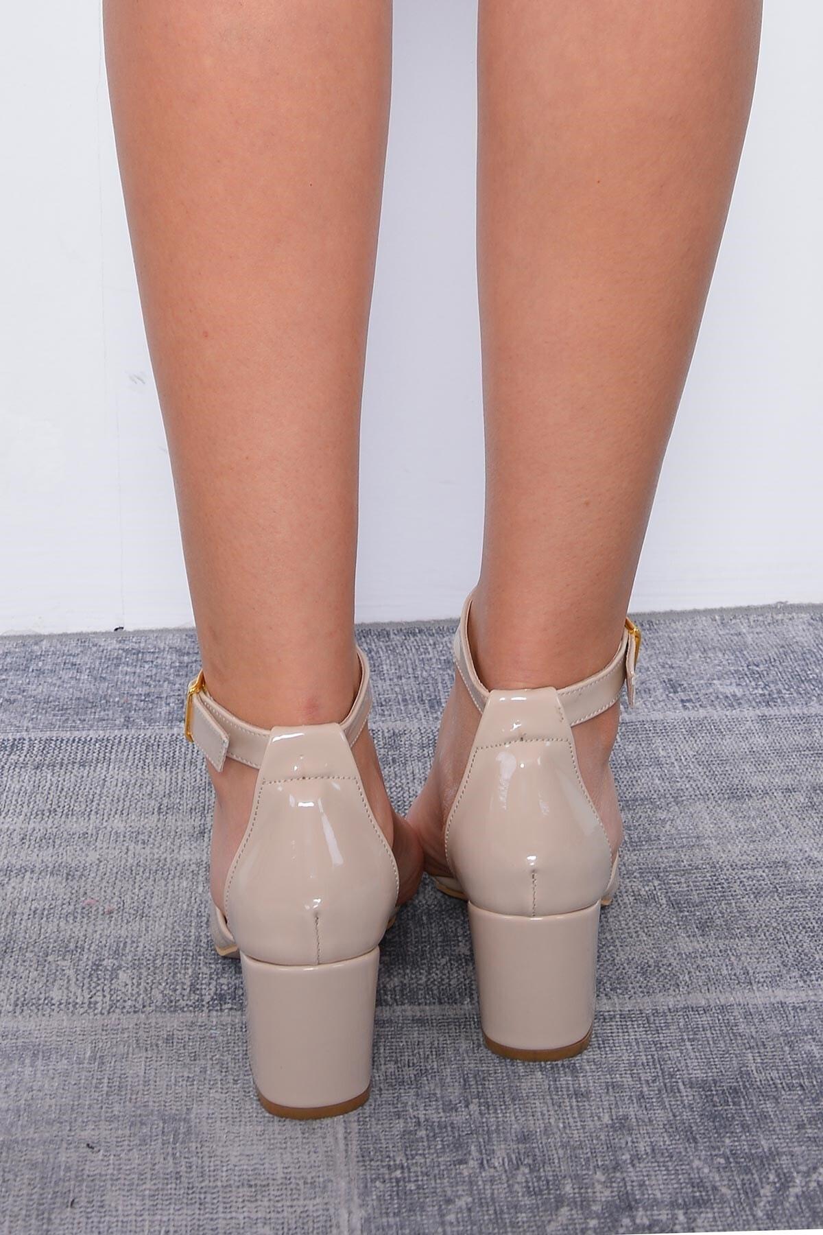 Mossta Kadın Bej Rugan Topuklu Ayakkabı 2