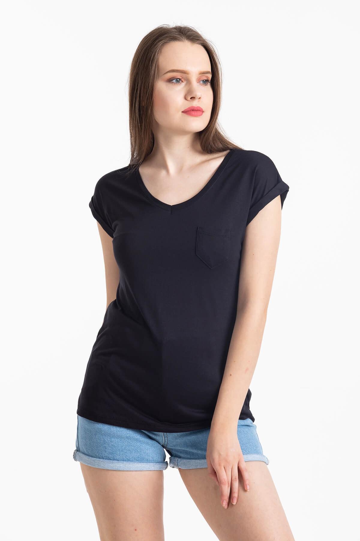 Mossta Kadın Siyah V Yaka Cepli T-shirt 1
