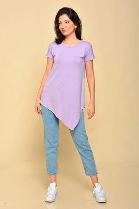Mossta Kadın Lila Asimetrik Kesim Basic T-shirt