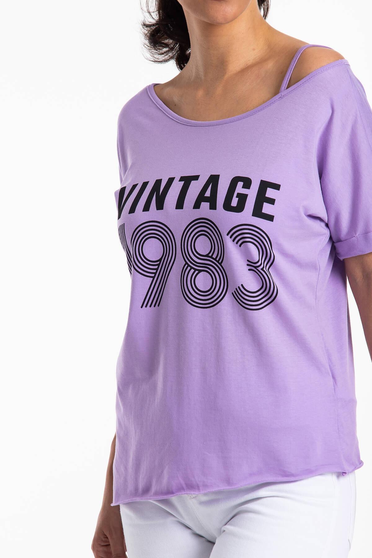Mossta Kadın Mor Düşük Omuz Vintage T-shirt 2